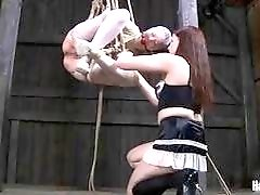 Cute tied up slave dominated by lesbian mistress BDSM porn