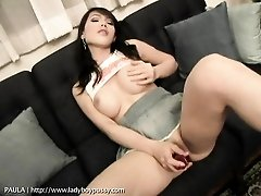 Ladyboy with incredible tits pleasures her pussy
