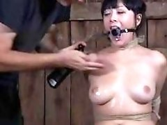 Asian sub slut pussy pumped while having bondage sex BDSM