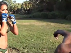 domination and beatdown - skinny punching bag for toni