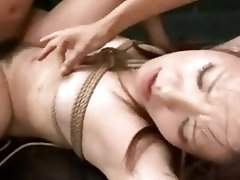 Roped Asian slut fucked hard and rough by BDSM deviant