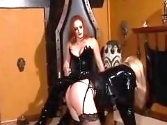 Submissive slut spanked by a tgirl
