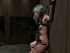 awesome bondage video with tattooed goth eye candy