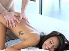 Handsome fellow is giving pretty babe a carnal massage