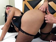 A Tattooed Guy Licks Transsexual Nicolly Pantojas Ass and Then Butt Fucks Her