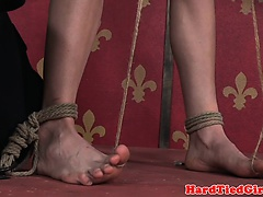 Roped submissive tormented with tt and nt