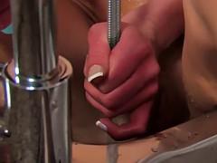 sexy babe masturbates on kitchen table