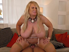 Busty blonde BBW is viciously drilled by an eager hunk