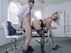 Naughty secretary slut bent over and fucked hard