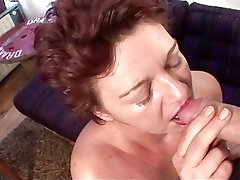 Vintage redhead milf excites from hairy pussy masturbation before doing blowjob