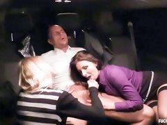 Cheeky Czech brunette Sandra enjoys intense FFM threesome in the backseat