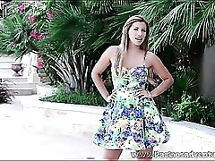 Colorful dress and heels on Latina Aurora Guerra