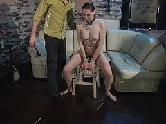 Cruel Master trains his slave girl.