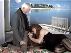 Chubby tranny fucked by older guy