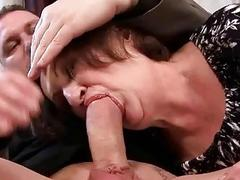 Ugly granny gives blowjob and gets fucked hard