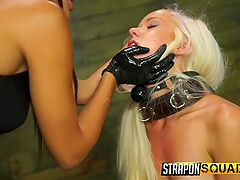 Young blonde submissive strapon fucked by mistress