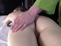 Playful babe enjoys cramming during sexy massage