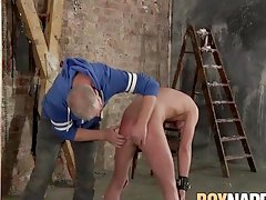 Young sub Cameron James bent over for spanking and BJ