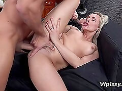 Pissing in her mouth and fucking her throat
