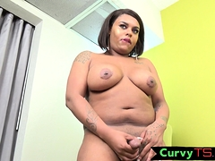 Curvy latina shemale bends over and wanks