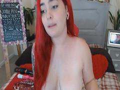 Amateur Redhead Babe Masturbating with Dildo