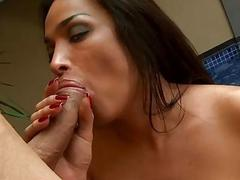 Huge jugs shemale Monique anal rammed