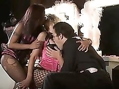 He fucks two sexy showgirls backstage