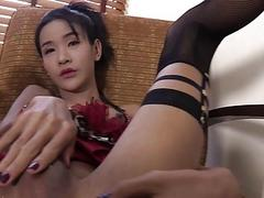 Skinny ladyboy Cara asshole screwed hard