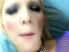 Lustful blonde slut in fishnets has a big black rod plowing her peach