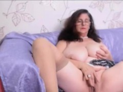 Busty granny with curly hair Masturbating