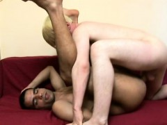 Blond hunk gets behind his gay lover and pounds his bunghole