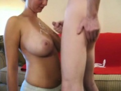 Unloading his hot cum on her big knockers
