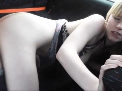 Pure amateur having sex in the car on a road