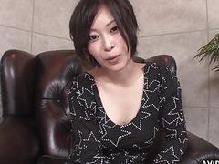 Big breasted Japanese babe Saki Otsuka gives head