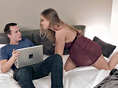 britney amber caught stepson watching porn and started sucking his cock