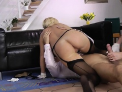 Stockings brit sucks cock