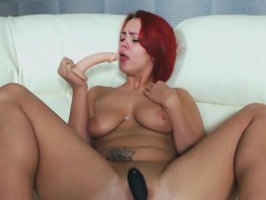 Perfect Redhead Babe Fucks All Holes