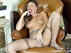 french milf chloe takes down pantyhose and wanks hairy pussy