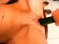 Horny mature wife has a black toy drilling her aching pussy