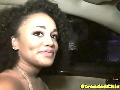 Pulled ebony pov pussyfucked after bj in car