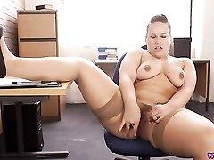 BBW secretary gets naked for the boss