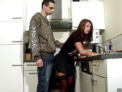 A stunningly hot milf mommy fucks her young energetic son