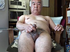 Japanese old man in the kitchen masturbation ejaculation