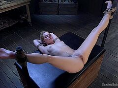 Master issues pleasure and pain to submissive Dahlia Sky