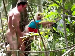 Amazing blonde got fucked in a forest