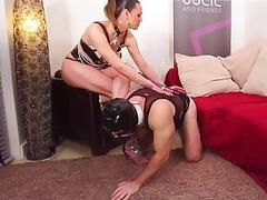 Dominant shemale ass fucks male slave and cums on him