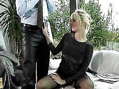 Lovely lace top stockings girl in DP scene