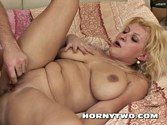 Chubby blonde milf big cunt masturbation until her young