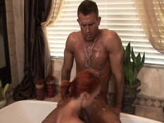 Ginger masseuse cocksucking in sixtynine pose