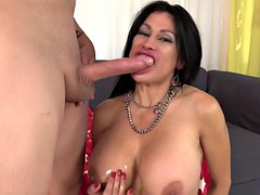 mature sheila marie takes on a long dick